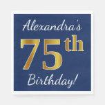 [ Thumbnail: Blue, Faux Gold 75th Birthday + Custom Name Paper Napkin ]