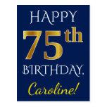 [ Thumbnail: Blue, Faux Gold 75th Birthday + Custom Name Postcard ]