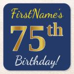 [ Thumbnail: Blue, Faux Gold 75th Birthday + Custom Name Paper Coaster ]