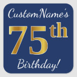 [ Thumbnail: Blue, Faux Gold 75th Birthday + Custom Name Sticker ]