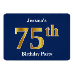 [ Thumbnail: Blue, Faux Gold 75th Birthday Party + Custom Name Invitation ]
