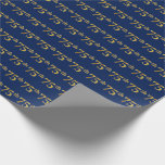 [ Thumbnail: Blue, Faux Gold 75th (Seventy-Fifth) Event Wrapping Paper ]