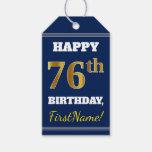 [ Thumbnail: Blue, Faux Gold 76th Birthday + Custom Name Gift Tags ]