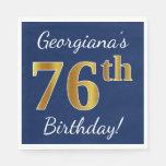 [ Thumbnail: Blue, Faux Gold 76th Birthday + Custom Name Paper Napkin ]