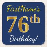 [ Thumbnail: Blue, Faux Gold 76th Birthday + Custom Name Paper Coaster ]