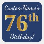 [ Thumbnail: Blue, Faux Gold 76th Birthday + Custom Name Sticker ]