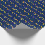 [ Thumbnail: Blue, Faux Gold 76th (Seventy-Sixth) Event Wrapping Paper ]