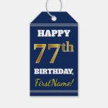 [ Thumbnail: Blue, Faux Gold 77th Birthday + Custom Name Gift Tags ]