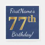 [ Thumbnail: Blue, Faux Gold 77th Birthday + Custom Name Paper Napkin ]