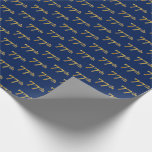 [ Thumbnail: Blue, Faux Gold 77th (Seventy-Seventh) Event Wrapping Paper ]