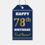 [ Thumbnail: Blue, Faux Gold 78th Birthday + Custom Name Gift Tags ]