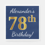 [ Thumbnail: Blue, Faux Gold 78th Birthday + Custom Name Paper Napkin ]