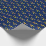 [ Thumbnail: Blue, Faux Gold 78th (Seventy-Eighth) Event Wrapping Paper ]