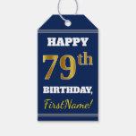 [ Thumbnail: Blue, Faux Gold 79th Birthday + Custom Name Gift Tags ]