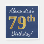 [ Thumbnail: Blue, Faux Gold 79th Birthday + Custom Name Napkin ]