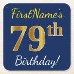 [ Thumbnail: Blue, Faux Gold 79th Birthday + Custom Name Paper Coaster ]