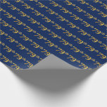 [ Thumbnail: Blue, Faux Gold 79th (Seventy-Ninth) Event Wrapping Paper ]