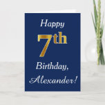 [ Thumbnail: Blue, Faux Gold 7th Birthday + Custom Name Card ]