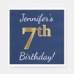 [ Thumbnail: Blue, Faux Gold 7th Birthday + Custom Name Paper Napkin ]