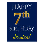 [ Thumbnail: Blue, Faux Gold 7th Birthday + Custom Name Postcard ]