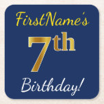 [ Thumbnail: Blue, Faux Gold 7th Birthday + Custom Name Paper Coaster ]