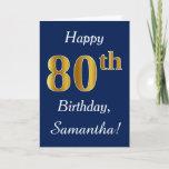 [ Thumbnail: Blue, Faux Gold 80th Birthday + Custom Name Card ]