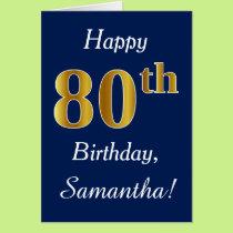 Blue, Faux Gold 80th Birthday   Custom Name Card