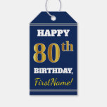 [ Thumbnail: Blue, Faux Gold 80th Birthday + Custom Name Gift Tags ]