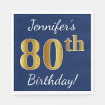 [ Thumbnail: Blue, Faux Gold 80th Birthday + Custom Name Napkin ]