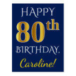 [ Thumbnail: Blue, Faux Gold 80th Birthday + Custom Name Postcard ]