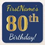 [ Thumbnail: Blue, Faux Gold 80th Birthday + Custom Name Paper Coaster ]