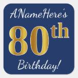 [ Thumbnail: Blue, Faux Gold 80th Birthday + Custom Name Sticker ]