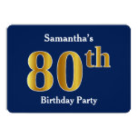 [ Thumbnail: Blue, Faux Gold 80th Birthday Party + Custom Name Invitation ]