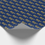 [ Thumbnail: Blue, Faux Gold 80th (Eightieth) Event Wrapping Paper ]