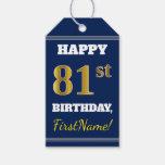 [ Thumbnail: Blue, Faux Gold 81st Birthday + Custom Name Gift Tags ]