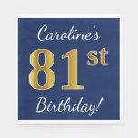 [ Thumbnail: Blue, Faux Gold 81st Birthday + Custom Name Napkin ]
