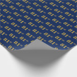 [ Thumbnail: Blue, Faux Gold 81st (Eighty-First) Event Wrapping Paper ]