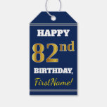 [ Thumbnail: Blue, Faux Gold 82nd Birthday + Custom Name Gift Tags ]