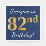[ Thumbnail: Blue, Faux Gold 82nd Birthday + Custom Name Paper Napkin ]