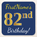 [ Thumbnail: Blue, Faux Gold 82nd Birthday + Custom Name Paper Coaster ]