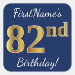 [ Thumbnail: Blue, Faux Gold 82nd Birthday + Custom Name Sticker ]
