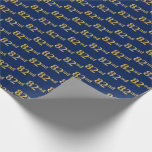 [ Thumbnail: Blue, Faux Gold 82nd (Eighty-Second) Event Wrapping Paper ]