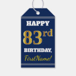 [ Thumbnail: Blue, Faux Gold 83rd Birthday + Custom Name Gift Tags ]