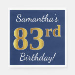 [ Thumbnail: Blue, Faux Gold 83rd Birthday + Custom Name Paper Napkin ]