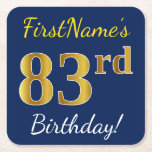 [ Thumbnail: Blue, Faux Gold 83rd Birthday + Custom Name Paper Coaster ]