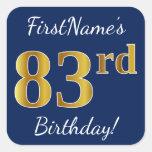 [ Thumbnail: Blue, Faux Gold 83rd Birthday + Custom Name Sticker ]