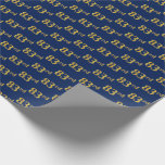 [ Thumbnail: Blue, Faux Gold 83rd (Eighty-Third) Event Wrapping Paper ]
