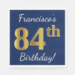 [ Thumbnail: Blue, Faux Gold 84th Birthday + Custom Name Paper Napkin ]