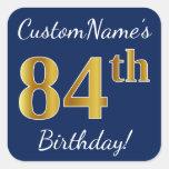 [ Thumbnail: Blue, Faux Gold 84th Birthday + Custom Name Sticker ]