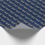 [ Thumbnail: Blue, Faux Gold 84th (Eighty-Fourth) Event Wrapping Paper ]
